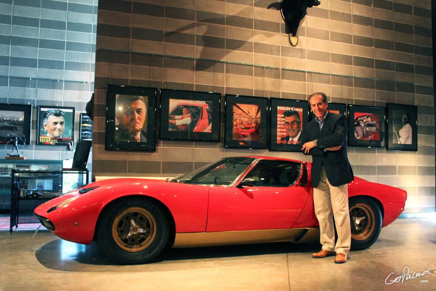 Fabio Lamborghini with Miura SV at Ferruccio Lamborghini Museum