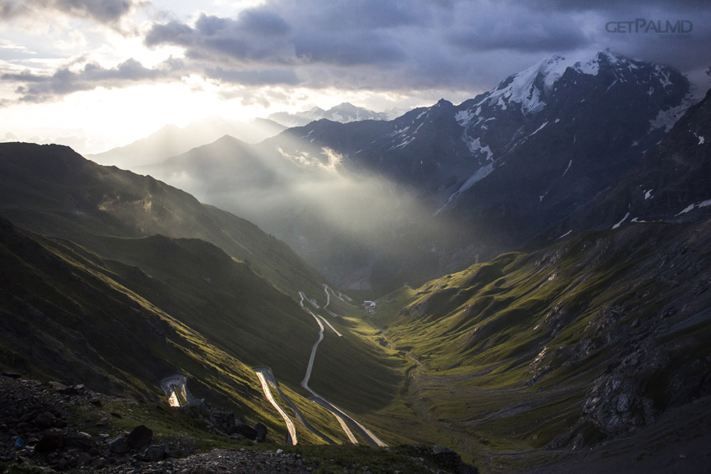 sunrise race on stelvio pass see a beautiful driving