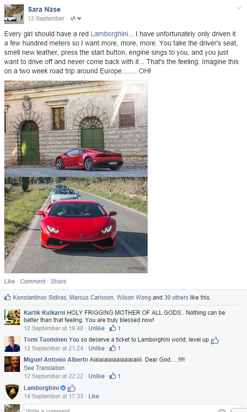Lamborghini Huracan Facebook