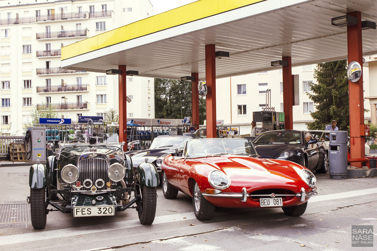 Gas station classic cars