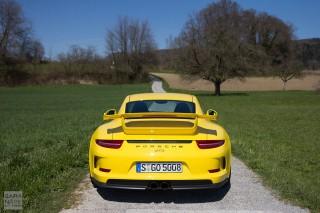 Porsche 911 GT3 yellow rear