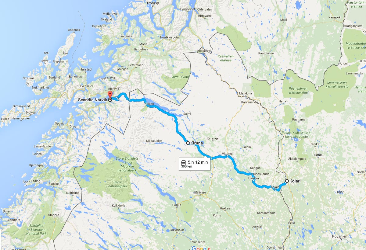 Kolari to Narvik Road Trip Route