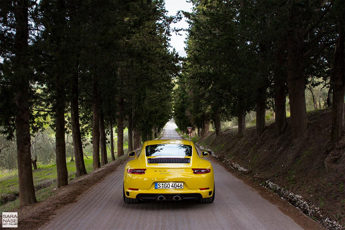 Castello di Casole driveway Porsche