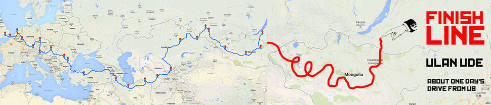 Mongol Rally 2016 route