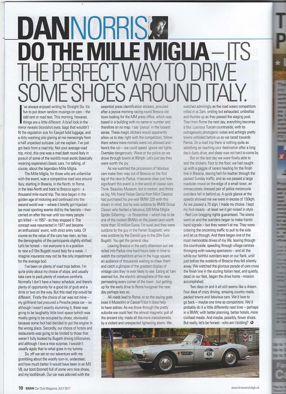 Mille Miglia 2017 - Dan Norris / BMW Car