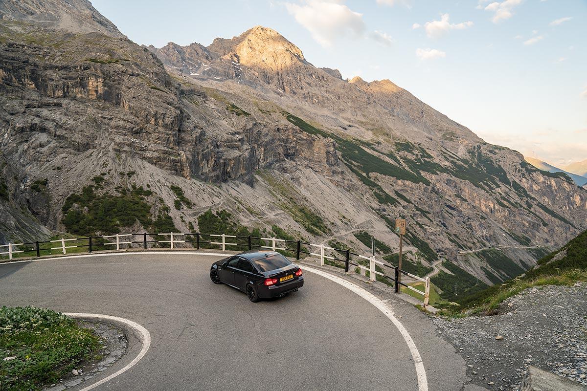 BMW E90 M3 hairpin corner Stelvio Pass