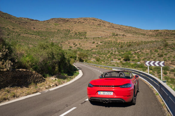 Porsche 718 Boxster GTS on mountain road